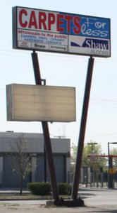 Carpets For Less Sign Overlooking Nairn Avenue in Winnipeg Manitoba